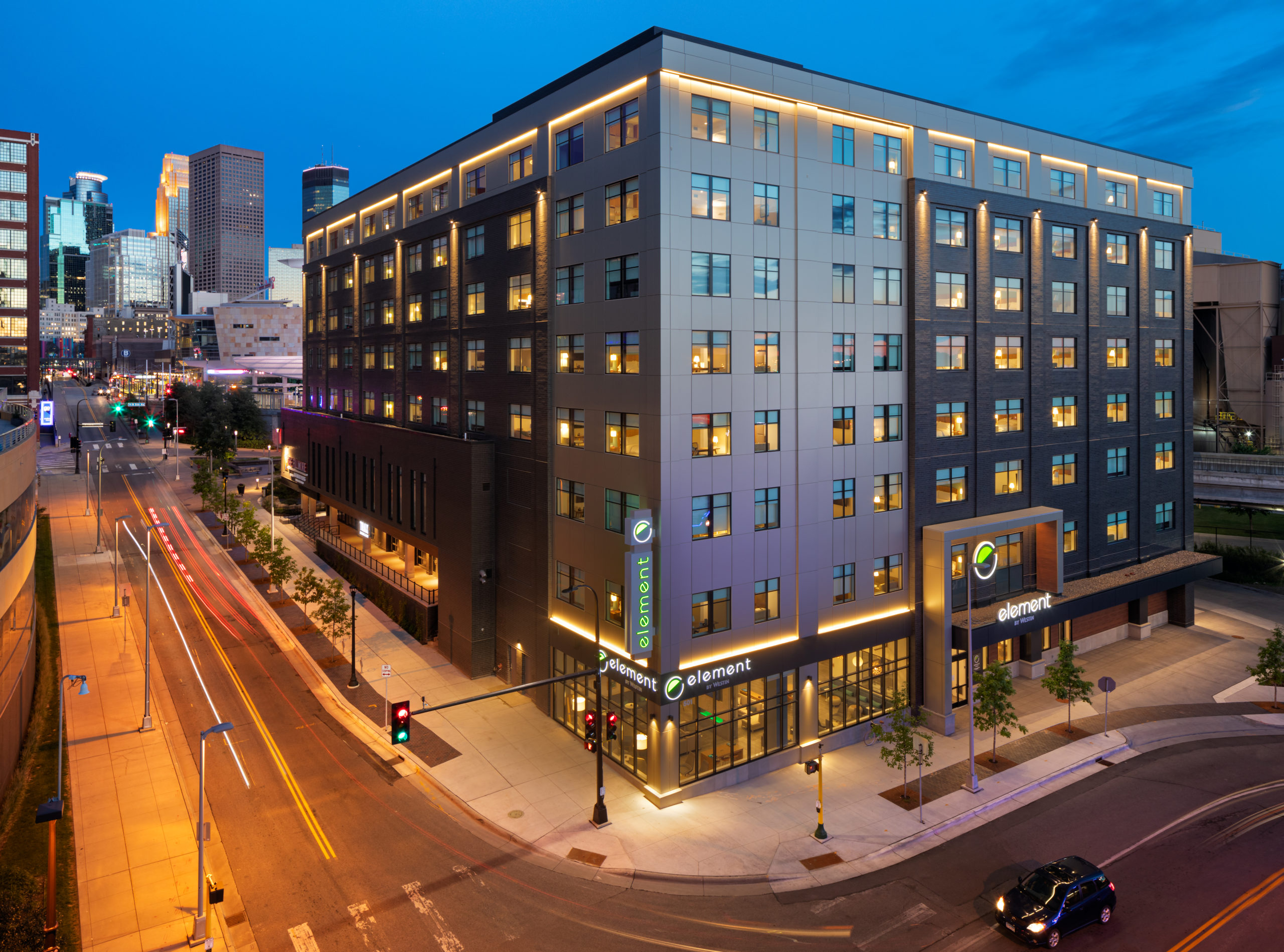 The brand-new Element Minneapolis Downtown. Situated in the vibrant Warehouse District, the hotel is perfectly positioned for exploration around North Loop. Adjacent to the Light Rail, Target Field and The Fillmore Minneapolis, and just a few moments from U.S. Bank Stadium, Target Center and downtown arts and entertainment options.